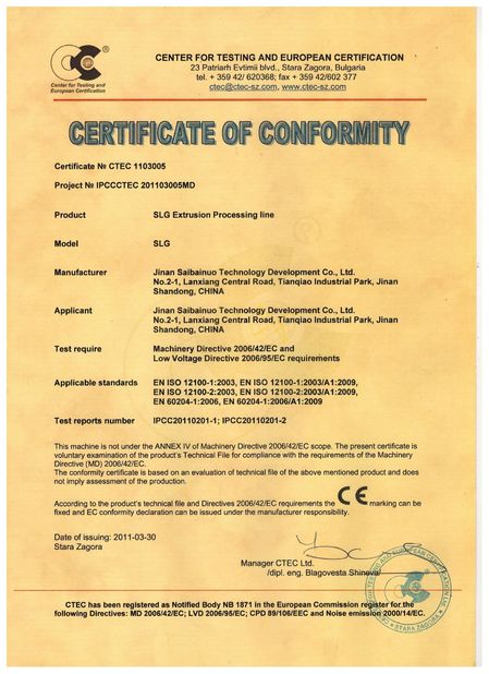 China Jinan Saibainuo Technology Development Co., Ltd Certification
